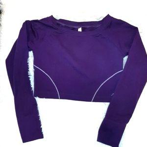 ATIVA Purple long sleeve crop athletic top